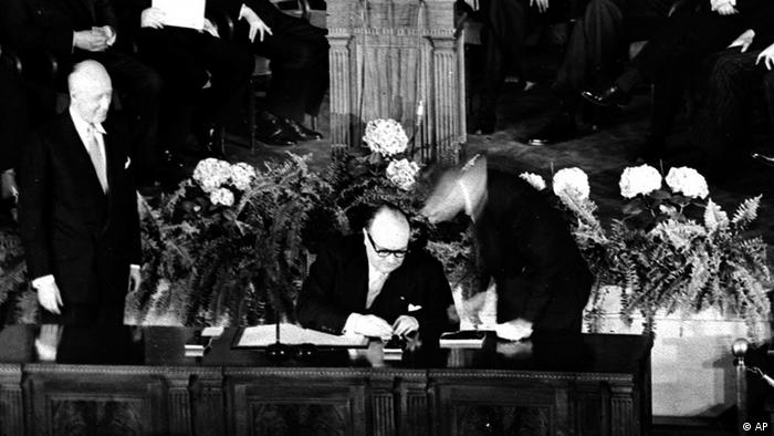 Belgium's Premier and Foreign Minister Paul-Henri Spaak signing the North Atlantic Pact in Washington, DC, April 4, 1949