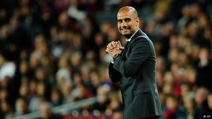 Barcelona's coach Josep Guardiola is seen during the match against Chelsea during a Champions League semifinal second leg match at the Camp Nou stadium in Barcelona, Spain, Tuesday, April 24, 2012. Chelsea drew 2-2 with Barcelona to win the match 3-2 on aggregate. (Foto:Emilio Morenatti/AP/dapd)