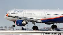 Landung Passagierflugzeug der russischen Fluggesellschaft Aeroflot