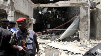 The Thisday newspaper building in Abuja after it was hit by a bomb