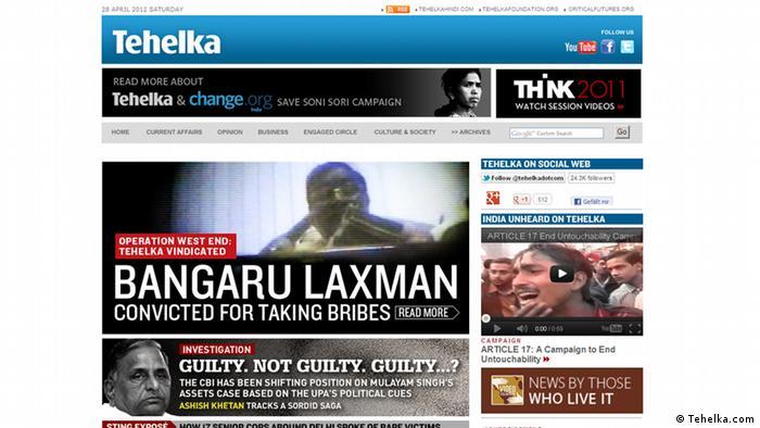 Screenshot der Internetsite Tehelka.com (Tehelka.com)