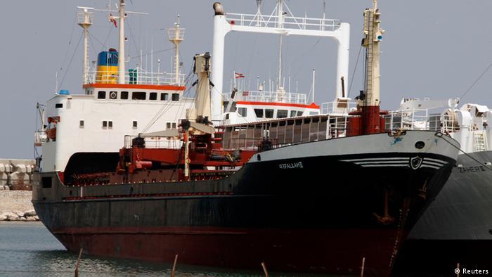 The ship Letfallah II docked at the naval base at the port of Beirut