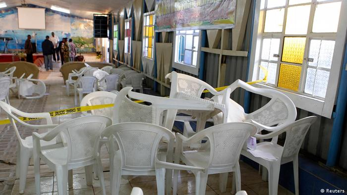 Iinside the God's House of Miracles International Church after the grenade attack