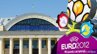 The Euro 2012 logo in Kharkiv