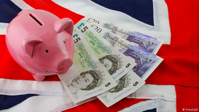 Piggy bank, sterling and Union Jack