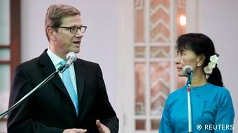 Aung San Suu Kyi and Guido Westerwelle