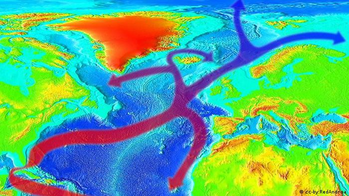 A graphic of the Gulf Stream system, part of a system of currents in the Atlantic Ocean