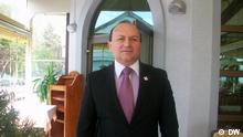 Zivko Mitrevski, Vorsitzender des Gewerkschaftsbundes in Mazedonien (SSM). Copyright: DW/Milco Jovanoski 24.04.2012, Ohrid, Mazedonien