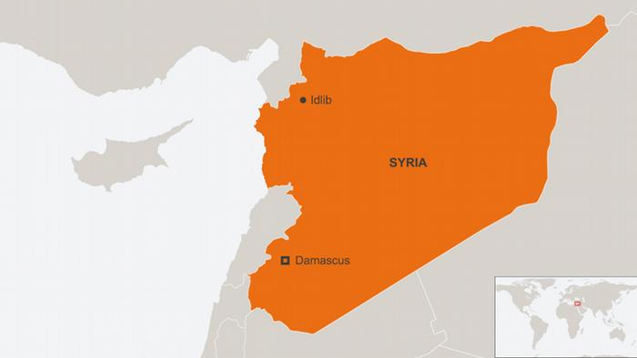 A map of Syria showing Idlib