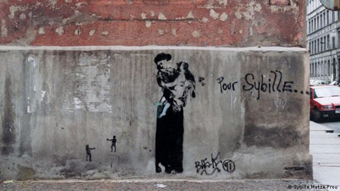 """El grafiti """"Madonna con niño"""" de Blek le Rat, en Leipzig, ha sido restaurado y reconocido como patrimonio cultural."""