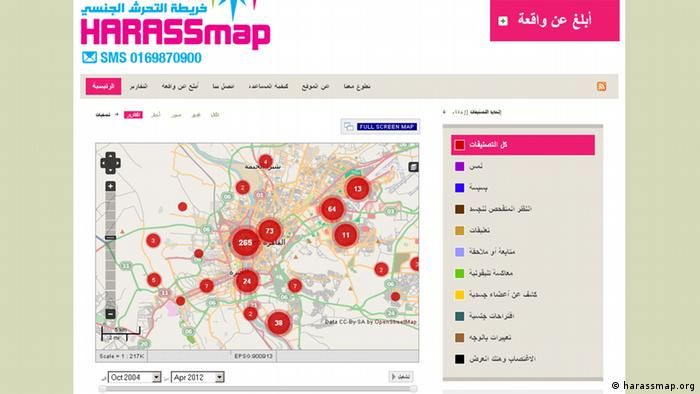 screenshot of http://harassmap.org/
