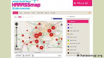 Screenshot von der Website harassmap