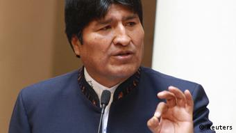 Bolivia's President Evo Morales speaks during a May Day celebration ceremony at the presidential palace in La Paz