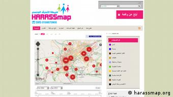 Screen shot of http://harassmap.org/