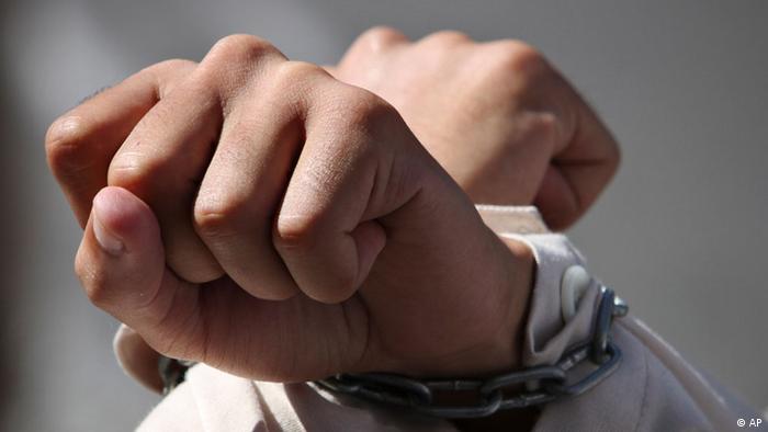 Israel Palästina Palästinenser Gefangene Protest Demonstration Hände Handschellen (AP)
