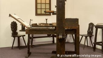 Printing press at the Gutenberg Museum in Mainz, Copyright: picture-alliance/akg-images