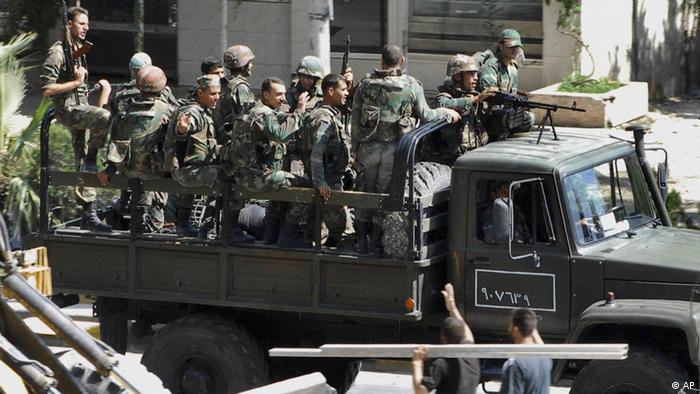 Militär in Syrien Assad Soldaten Damaskus Bürgerkrieg LKW