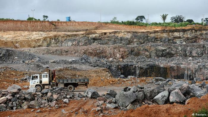 A truck is seen in the construction site of the Belo Monte Dam project