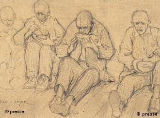 Wlodzimierz Siwierski, La sopa, Auschwitz, 1940. Lápiz sobre papel, 10 x 16,2cm