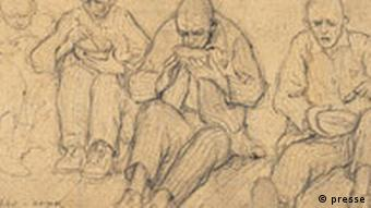 A sketch of prisoners drinking soup at the Auschwitz concentration camp