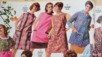 A Quelle catalog from the 1970s showing models wearing East German-made dresses