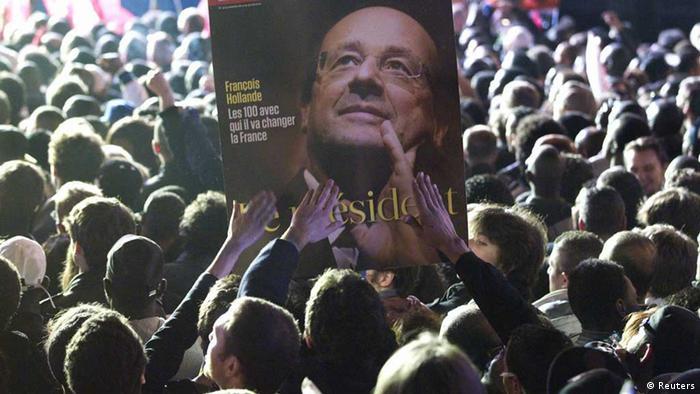 تجمع هواداران اولاند در میدان باستیل پاریس