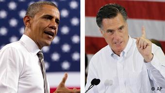 Barack Obama, left, and Mitt Romney, right