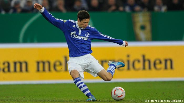 Julian Draxler winds up to shoot in a German Cup game against Nuremberg