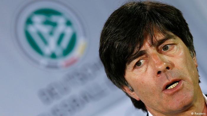 Joachim Loew, coach of Germany's national soccer team addresses the media during a news conference to announce their squad for the upcoming Euro 2012 tournament, in Rastatt, May 7, 2012. REUTERS/Kai Pfaffenbach (GERMANY - Tags: SPORT SOCCER HEADSHOT)