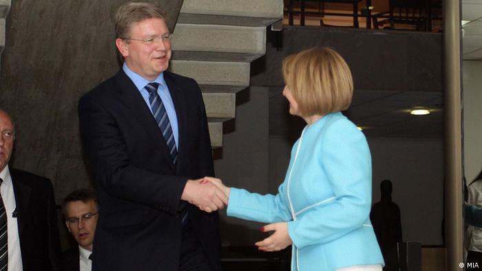 Mazedonien Skopje EU-Kommissar Stefan Füle
