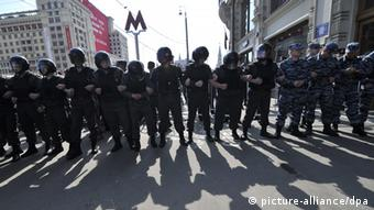 Police during a 2012 protest rally in Moscow