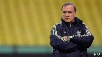 Russia's head coach Dick Advocaat watches his team during a training session at the Luzhniki stadium in Moscow, Russia, Monday, Oct. 10, 2011. Russia will play their Euro 2012 qualifying soccer match against Andorra on Tuesday. (ddp images/AP Photo/Ivan Sekretarev)