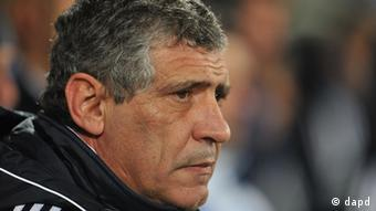 Greece's head coach Fernando Santos from Portugal watches the friendly soccer match between Greece and Romania in Altach, Austria, Tuesday Nov. 15, 2011. (AP Photo/Kerstin Joensson)