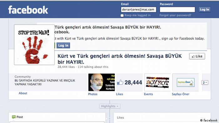 ***Screenshot darf nur in Zusammenhang mit einer Berichterstattung über die Webseite verwendet werden*** Title: Screenshot of the Turks and Kurds against war Facebook page Screenshot erstellt von: Dorian Jones Ort: Istanbul Datum: 2012 Beschreibung: Turks and Kurds against war Facebook page. Facebook has become a powerful force for disseminating information on sensitive subjects, in particular the Turkish States ongoing war against the Kurdish rebel group the PKK.