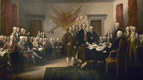 Die Unabhängigkeitserklärung wird dem Kontinentalkongress vorgelegt. Gemälde von John Trumbull um 1816, kein Copyright-Text angegeben