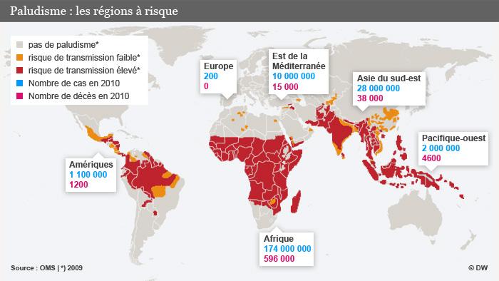 Infografik Malaria Verbreitung Fälle und Gestorbene 2009 2010 Französisch