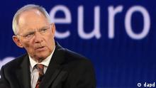 German Finance Minister Wolfgang Schaeuble addresses the audience during the 15th WDR Europa Forum, at the European Parliament in Brussels, Wednesday, May 9, 2012. (Foto:Yves Logghe/AP/dapd)