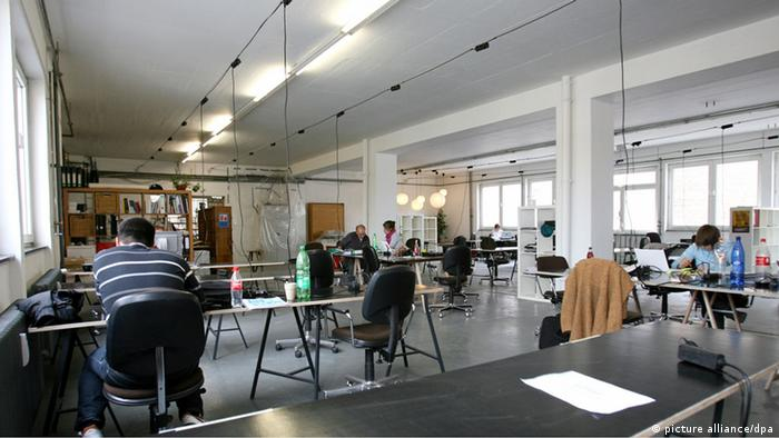 The sparse and relatively empty interior working space of Betahaus Berlin