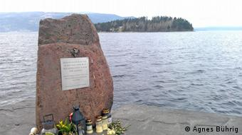 A memorial stone on the island of Utöya where Breivik carried out his main attack shooting dead youths at a Socialist youth camp. (Photo: Agnes Bührig)