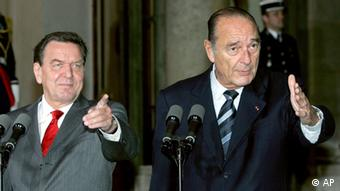 Germany's former chancellor, Gerhard Schroeder, with France's former President Jacques Chirac in 2005 (AP)