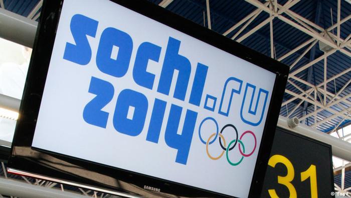 Hinweis auf einem Bildschirm: Olympische Winterspiele 2014 in Sochi (Foto:Igor Yakunin, File/AP/dapd)