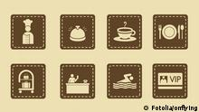 Hotel icons set in retro style - Travel Icons © onflying #21784010