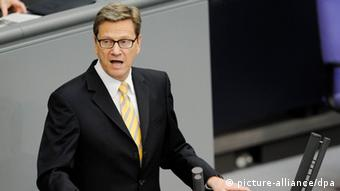 German Foreign Minister Guido Westerwelle in the Bundestag in Berlin (photo: Maurizio Gambarini dpa/lbn)