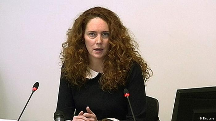 A still image from broadcast footage shows former News International chief executive Rebekah Brooks giving evidence to the Leveson Inquiry into the ethics and practices of the media at the High Court in central London May 11, 2012. (PHOTO. REUTERS/POOL via Reuters TV9)