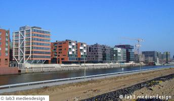 View of newly built apartment buildings in Hamburg's Harbor City