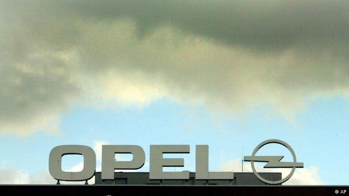 Opel logo, dark clouds