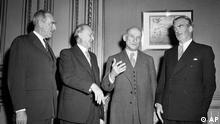 West German Chancellor Konrad Adenauer meets the big three for the first time, at the Quai d'Orsay, Paris, France on Nov. 22, 1951. From left to right are: USA Secretary of State Dean Acheson, Adenauer, French Foreign Minister Robert Schuman, and British Foreign Minister Anthony Eden. They later in the evening approved the draft of an agreement which will place Germany on an equal partnership with the West. (ddp images/AP Photo/Jean Jacques Levy).
