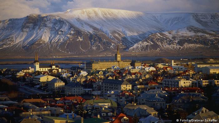 A wide shot of Reykjavik