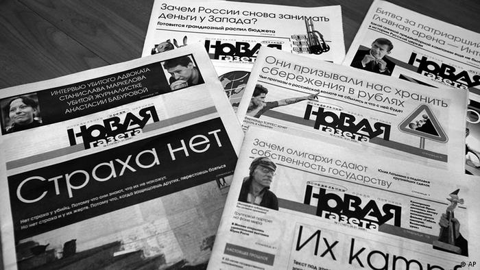 **ADVANCE FOR SUNDAY, FEB. 1** Front pages of the Novaya Gazeta issues seen in Moscow, Russia, Monday, Jan. 26, 2009. In a country considered one of the most dangerous for journalists, no Russian newspaper has suffered like Novaya Gazeta. (ddp images/AP Photo/Alexander Zemlianichenko)