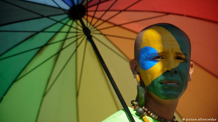 Manifestación contra la homofobia en Brasilia, Brasil.